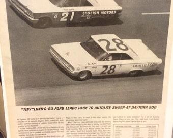 1963 Tiny Lind Autolite Spark Plug ad nascar racing