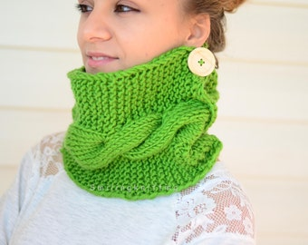 Green Knit Cowl, Scarf, Chunky Cowl, Knit Neck Warmer, Hand Knit Scarf, Wood Button, Gift For Her