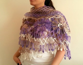 Crocheted Shawl, Dahlia Flower Shawl, Triangle Shawl, Floral Fantasy, Spring Accessory, Violet Shawl, Purple, Beige