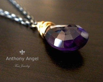 Ready To Ship - Almond Shaped African Amethyst Drop Necklace