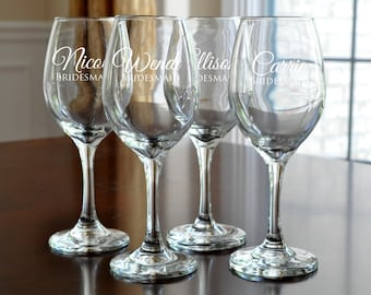 Personalized Wine Glasses Engraved Bridesmaid Wine Glasses Custom Wine Glass