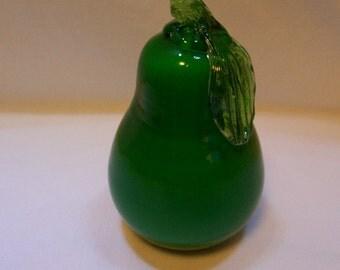 Pear, Blown Glass Pear, Pear, Green Pear, Green Glass