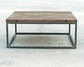 Industrial Hardwood Coffee Table - The Mason's Bench - Custom Furniture - Salvaged Barn Wood Table - Occassional Industrial
