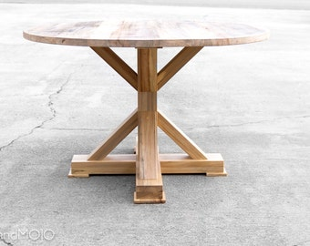 Round Dining Table Reclaimed Wood - The Kinzua - Custom Furniture - Reclaimed Hardwood - Rustic Family Kitchen Table - Handmade in the USA