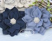 NEW: 2 pcs Navy Periwinkle Blue Poinsettia Kanzashi FLowers - Soft Velvet rhinestones Layered Fabric Flowers, Christmas Holiday Flower.
