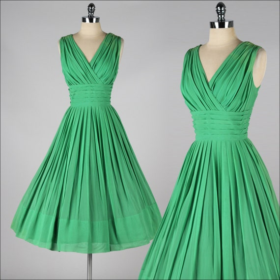 vintage 1950s party dress emerald green crepe chiffon 3928