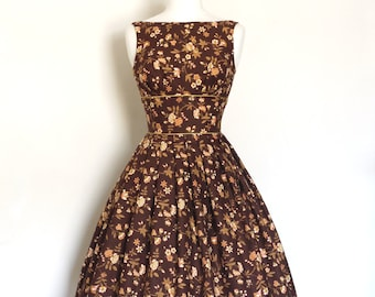 Sepia Tones Floral Print Tiffany Prom Dress - Made by Dig For Victory