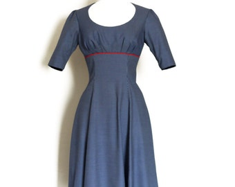 Navy Stripe High Waisted Tea Dress with Red Detail - Made by Dig For Victory