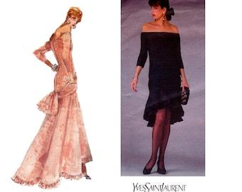 Vogue Paris Original 1995 Yves Saint Laurent 1980s Hi Low Hem Cocktail Prom Formal Gown Vintage Sewing Pattern Size 12 14 16