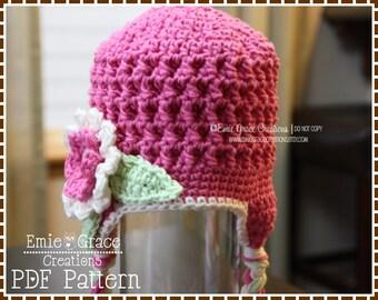 Flower Hat Crochet Pattern, 8 Sizes from Newborn to Adult, SYDNEY - pdf 213