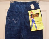 ON SALE  Vintage 1960's  Wrangler Teal Blue Corduroys   Small/Extra Small    Deadstock