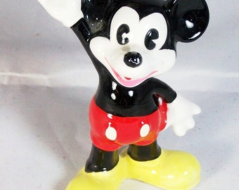 """Mickey Mouse Figurine 4"""" Signed © Walt Disney Productions, Japan"""