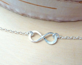 Infinity Bracelet, Sterling Silver Forever Bracelet, Small Infinity, Eternity, Forever Love, Friendship Bracelet, Bridesmaid Gifts