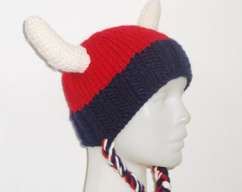 Viking hat, women's hat, woman's hat, funny hat, party hat, knit viking hat, red,blue, cream viking horns hat