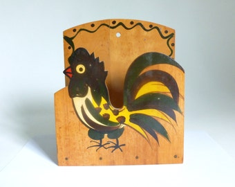 Mid Century 1950's Woodpecker Woodware Hand Painted Rooster Napkin Holder