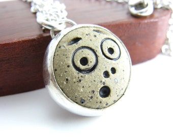 Wow Emoji Stoneware Sterling Silver Pendant Necklace Handmade Metal Jewelry BooBeads Freaked Out Face Necklace Expression Jewelry
