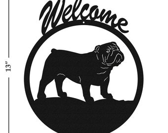 Dog English Bulldog Black Metal Welcome Sign
