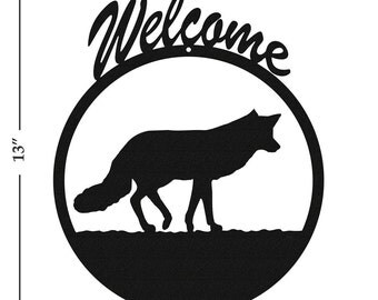 Fox Black Metal Welcome Sign
