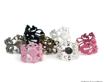 YOUTH Multi Assortment set of 100 You Choose colors Filigree Ring Base with Pad....TOP QUALITY....the best available....15mm Tall