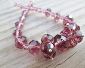 Crystal Amethyst Mixed Faceted Rondelle and Bicone Beads