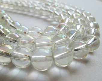 Pale Yellow Mystic Glass Rounds 8mm Half Strand