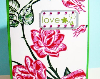 Love Roses Bold Graphic Handmade Card - Blank Inside