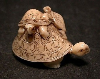 Vintage Japanese netsuke -Baby Turtles on Mother Turtle