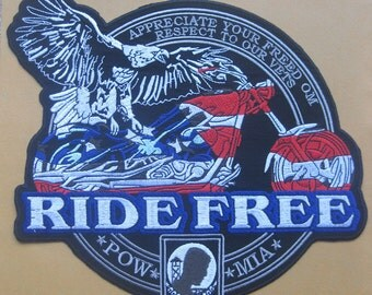 Large Big Huge RIDE FREE BIKE Chopper Patch Badge 10.5""