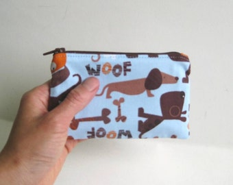 Small Zipper Pouch in Blue with Dachshunds, Dogs, Bones and Woof