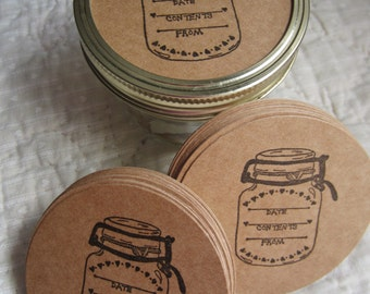 Wide Mouth Mason Jar Stickers-Canning Jar Labels- Circle Kraft Colored Stickers-Homestead Canning Stickers