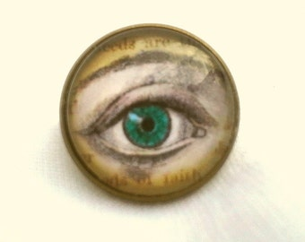 CLEARANCE  Green Eye Three Fourths Inch Diameter Glass Cameo Ring on Silver Adjustable Setting