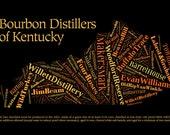 Bourbon Distillers of Kentucky Text Art Print
