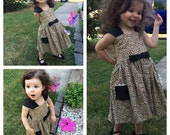 Girls RETRO Doll Dress Available in Custom Prints and Made to Match Silblings and or Mommy