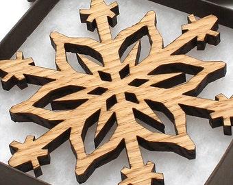 Hardwood Christmas Ornament Snowflake Design . Timber Green Woods