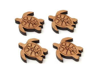 "Sea Turtle Charms - 2/3"" Size - Laser Cut Wood - Etsy Itsies by Timber Green Woods"