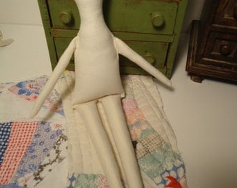 Primitive Muslin Doll body-blank muslin-rag doll-cotton-Minnie-unfinished