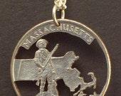 Massachusetts, Michigan, Minnesota, Mississippi, Missouri State Quarter Hand Cut Coin Jewelry