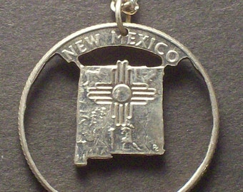 New Mexico, New York, North Carolina, North Dakota, Ohio State Quarter Hand Cut Coin Jewelry