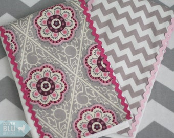 Boutique burp cloth set - Pink and grey floral medallion and chevron prints