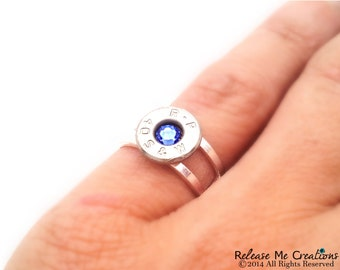 Silver Smith and Wesson Bullet Birthstone Ring For Her Customizable Birthstone Military Country Western