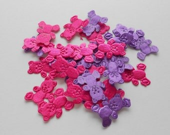 Cute teddy bear confetti - 30 pieces embossed in hot pink and purple, spring time brights