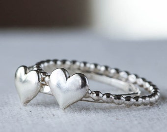 Silver Heart Ring, Stacking, Sterling Silver