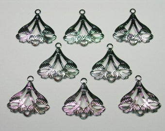 Antiqued Silver Plated Victorian Brass Drops Earring Findings - 8