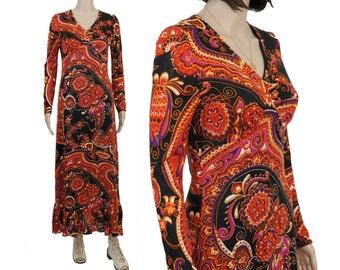 SALE 70s Jersey Baroque Knit Maxi Dress / XS / S / Long Sleeve Paisley Knit Dress