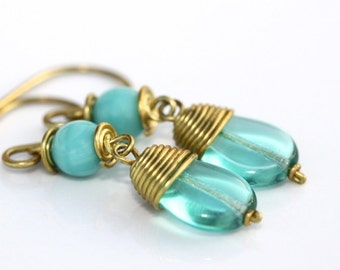 Long Aqua Mint Glass Earrings - 'Unavailable Bachelor'