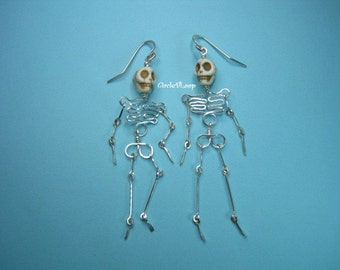 Fun skeleton sterling silver earrings