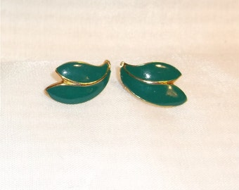 Goldtone Blue Green Enameled Earrings - 9212