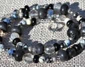 Black Silver Gray Multi Shape Necklace