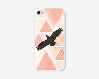 Geometric Phone Case - Peach Bird Geometric iPhone 4 / 4s - 5 / 5s - 5c Case - Coral iPhone 5c Case - iPhone 5 Case - iPhone 4s iPhone Case
