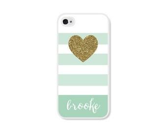 Mint iPhone 7 Case Glitter iPhone 5 Case iPhone 6 Case Monogram iPhone 6 Plus Case Gift iPhone 5s Case Personalized iPhone 5c Case